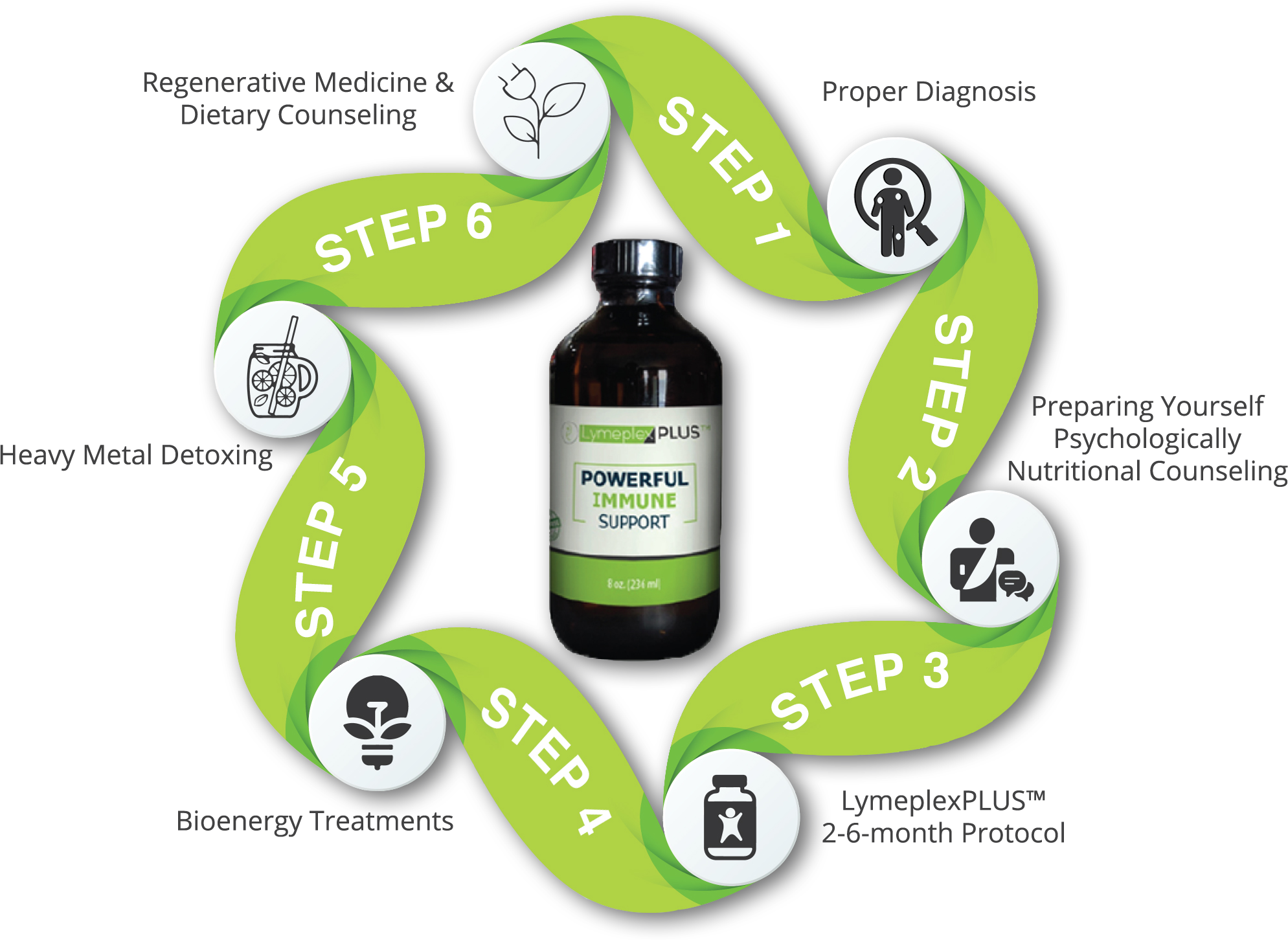 LymeplexPLUS 6-step protocol radial graphic with LymeplexPLUS bottle in the center - transparent background